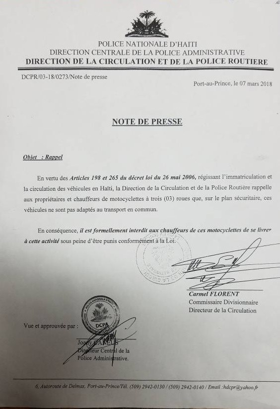 Haïti : Interdiction des motos à trois roues dans le transport en commun 33