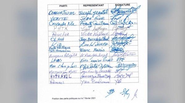 Des partis politiques dont VERITE, PHTK, KID, et Bouclier lancent un appel au dialogue