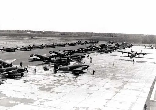 Venturas, Mitchells and Liberators waiting at Dorval before flying over to Great Britain, Dorval, Quebec, May 13th, 1942.