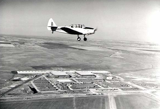 A Fairchild Cornell flying over Elementary Flying Training School No 19, Virden, Manitoba, October 1944.
