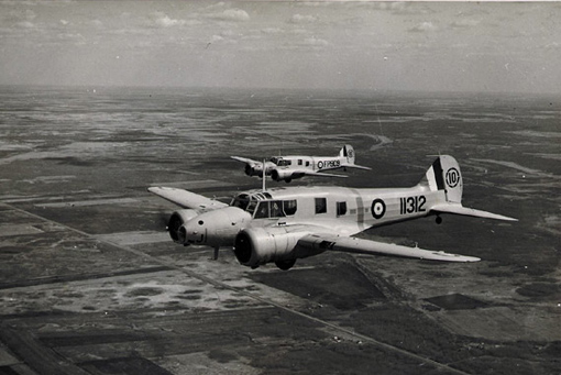 Two Avro Anson II from No 10 Service Flying Training School, Dauphin, Manitoba, 26th August, 1944.