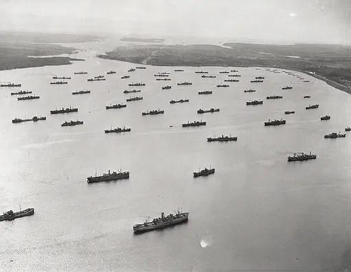 Convoy in Bedford Basin, Halifax, April 1,1942.