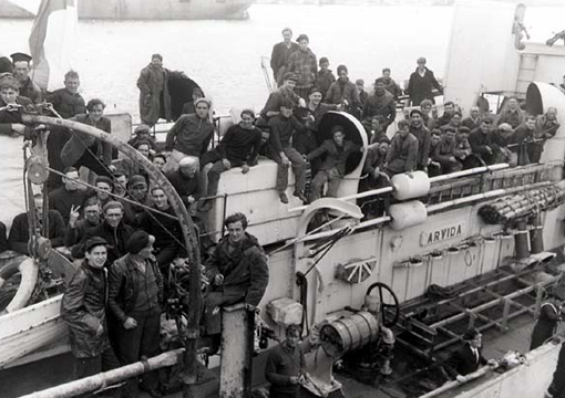 Survivors of torpedoed merchant ship aboard HMCS Arvida, 15 September 1942.
