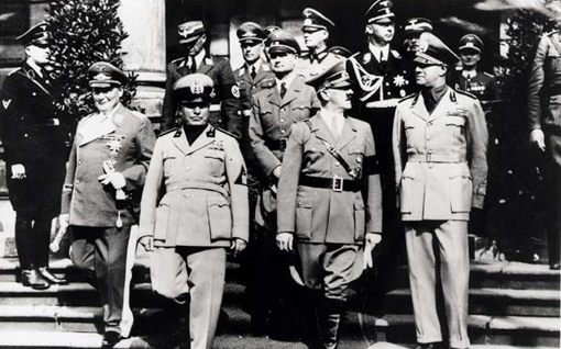 High-ranking officials of the Nazi and Fascist Parties, circa 1936-1940. On the front row, left to right: Herman Göring, Benito Mussolini, Rudolph Hess, and Adolph Hitler.