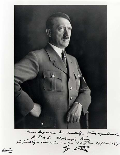 Adolph Hitler, photograph dedicated To His Excellency the Canadian Prime Minister Dr. W.L. Mackenzie King in friendly memory of his visit 29 June 1937.