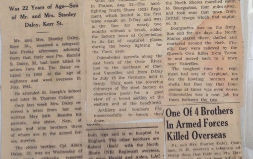 Copy of Articles announcing Harold's death