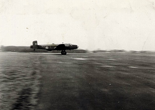 "Halifax ""A"" of 432 Squadron taking off at East Moor, February 12th, 1945"