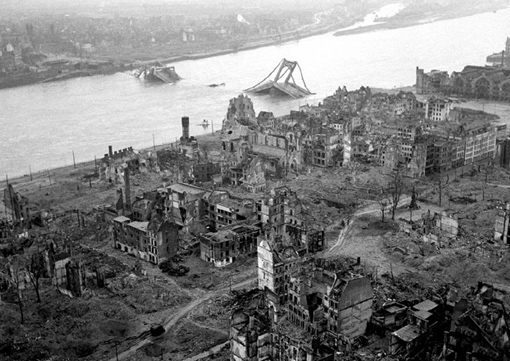 The city of Cologne in March 1945 after several bombing raids.