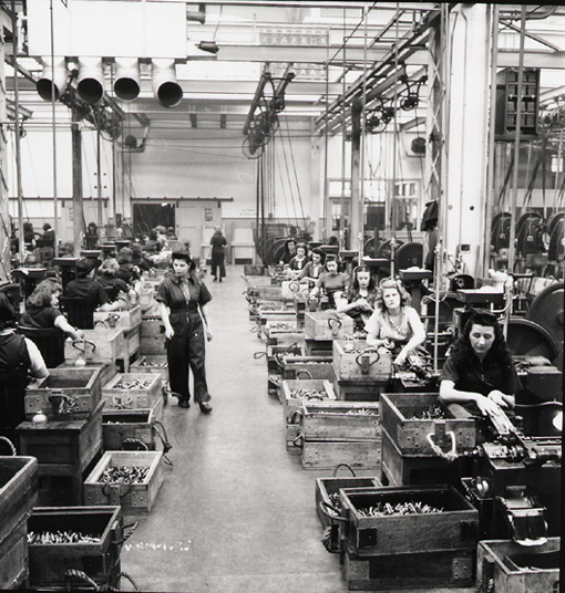 Cartridge production department of the Dominion Arsenal, Saint-Malo, Quebec, April 1942.