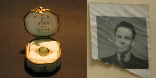 R: Sgt. Wilfred Gordon Harris' ring; L: Photo of F/O David Webster Goodwin
