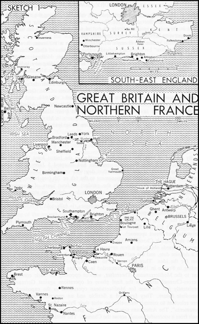 Black and white map. Great Britain and North France