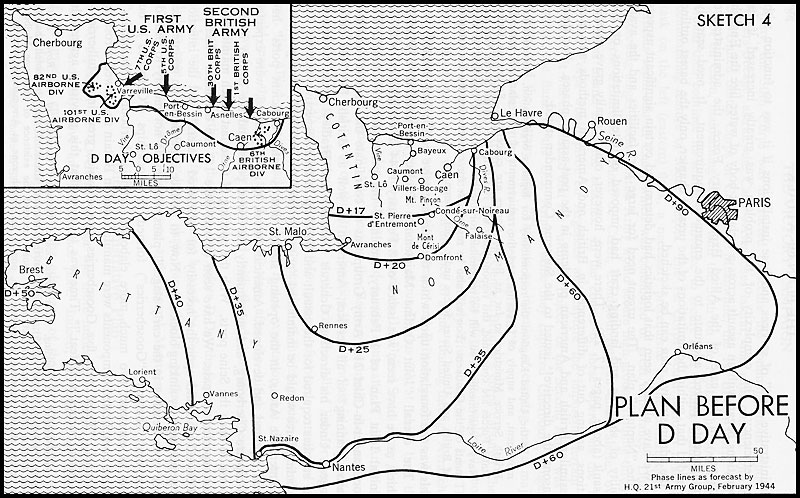 Black and white map. Plan Before D-Day