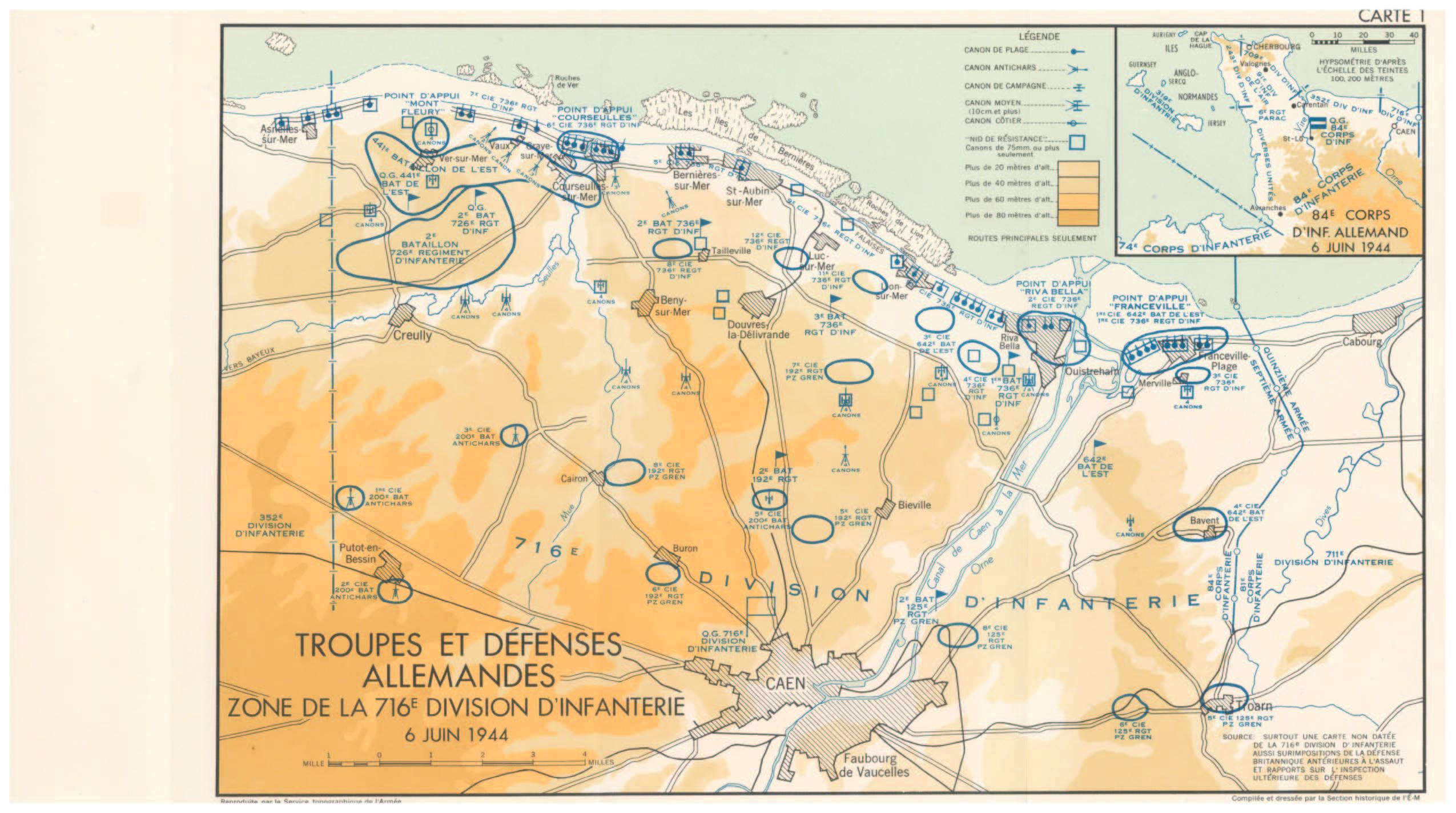 Une carte en couleurs. Troupes et Défenses Allemandes - Zone de la 716e Division d'Infanterie - 6 juin 1944