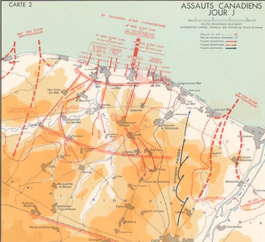 Une carte en couleurs. Assauts Canadiens Jour J