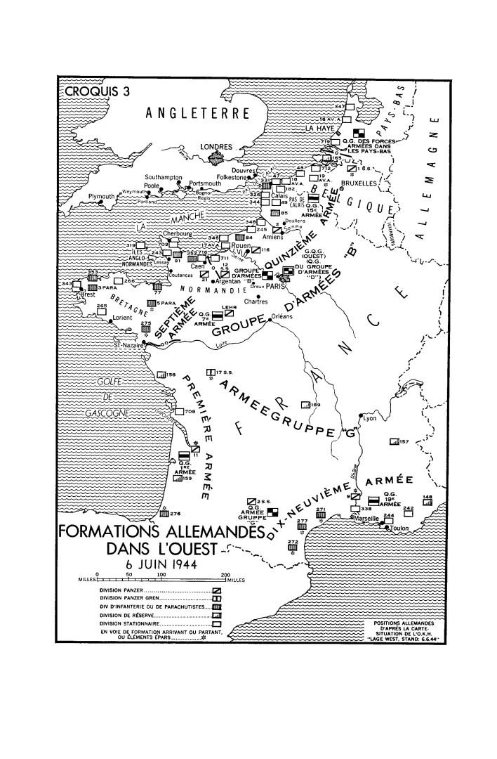 Une carte en noir et blanc. Formations Allemandes dans l'Ouest - 6 juin 1944