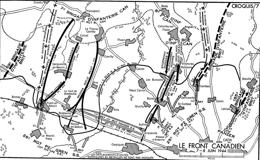 Une carte noir et blanc. Le Front Canadien - 7-8 juin 1944.