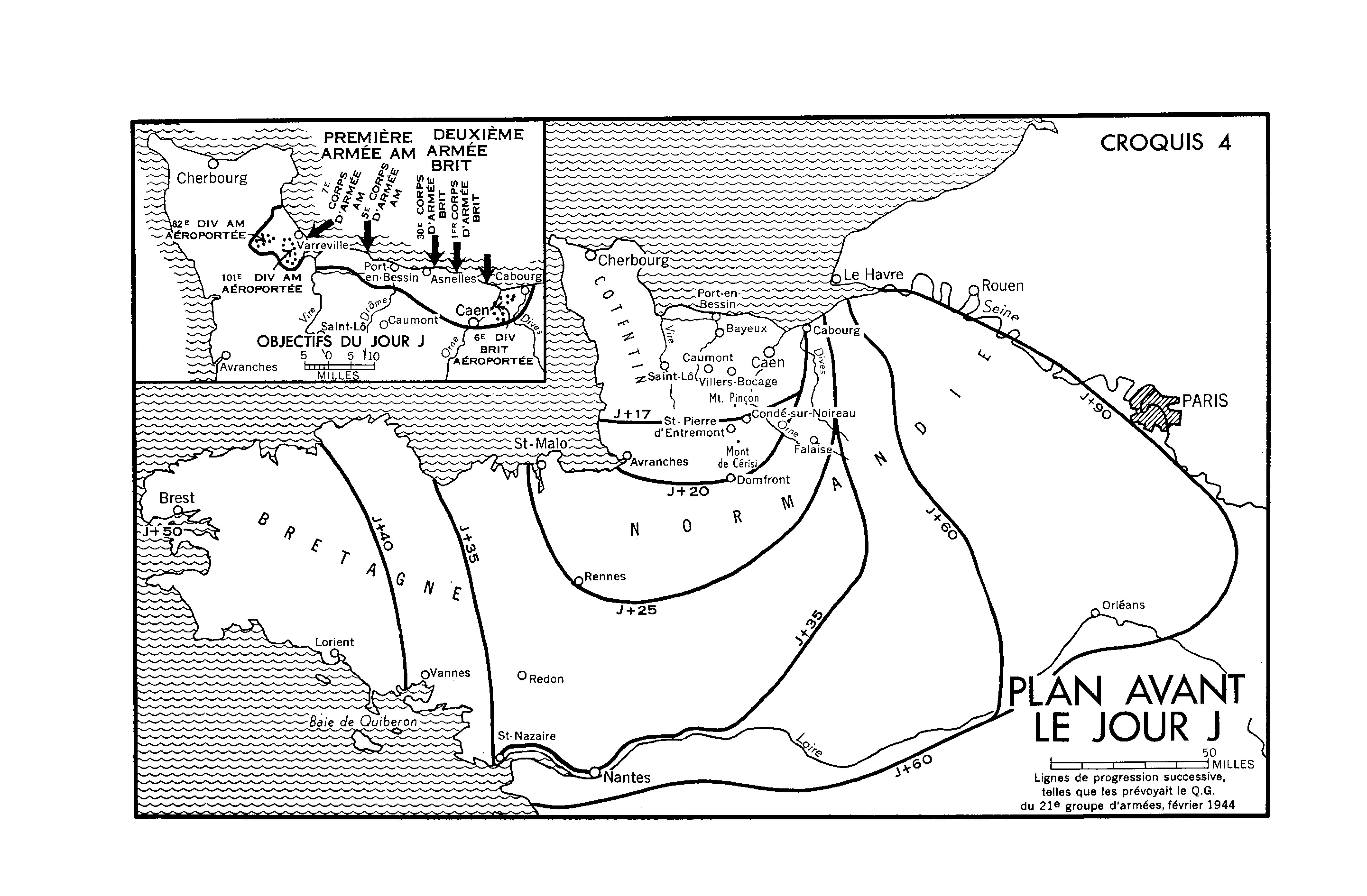 Une carte en noir et blanc. Plan Avant le Jour J.