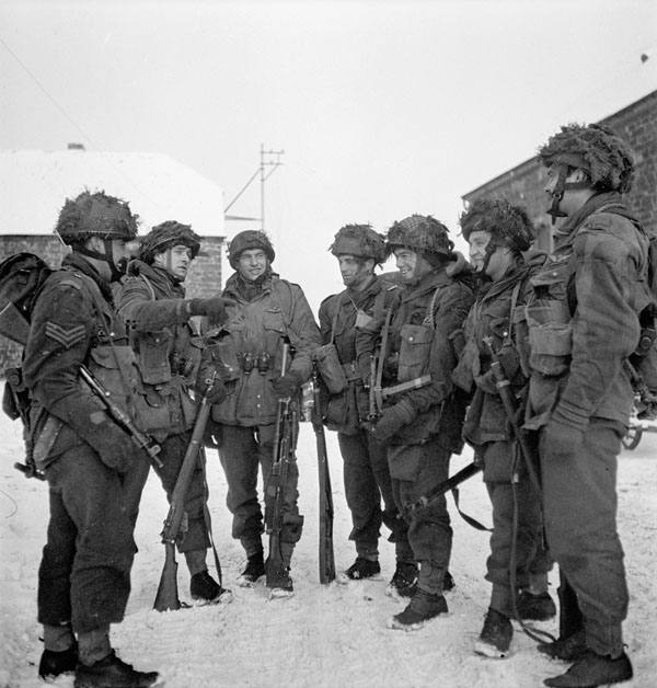Paratroopers of the 1st Canadian Parachute Battalion preparing for a patrol, Bande, Belgium, 15 January 1945 (Sgt. C.M.G. Lattion / DND / LAC / PA-191136).