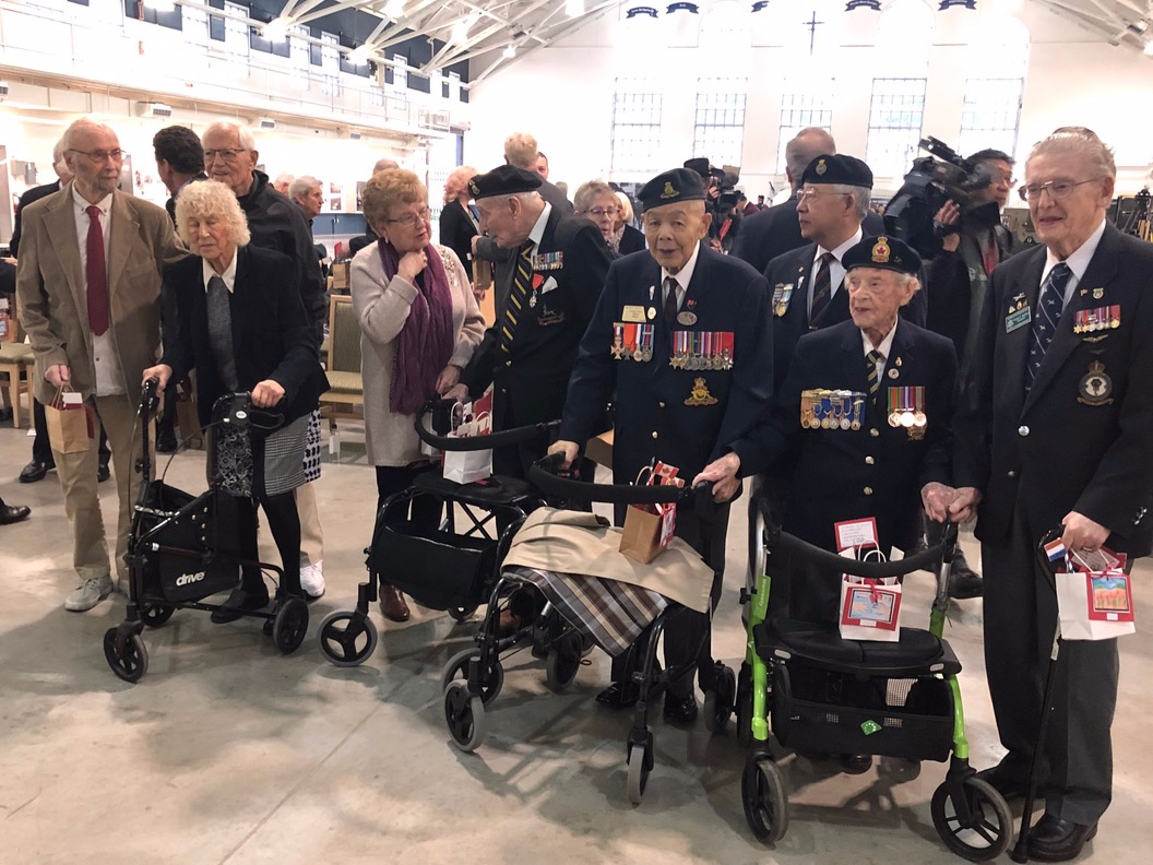 Canadian WW2 Veterans at the Veterans Affairs Canada event for the launch of the Liberations of Netherlands and V-E Day 75th anniversary poster