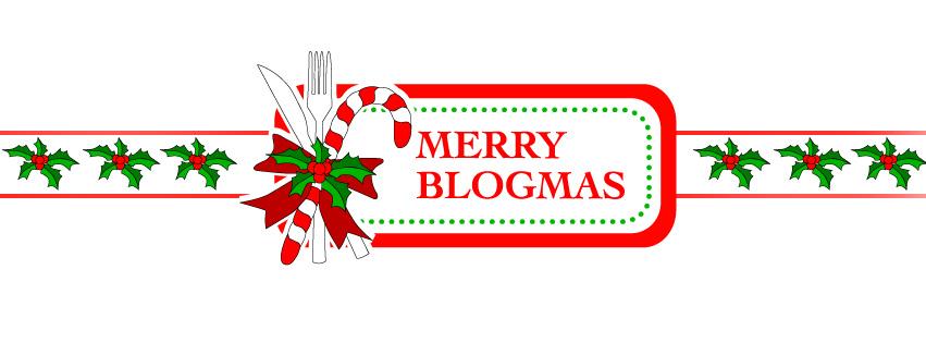 Blogmas-Logo mit Gabel, Messer und Zuckerstange