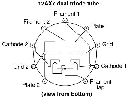 Расположение выводов 12AX7