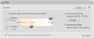 f.lux Settings Panel