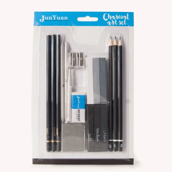 18pc Blister Card Charcoal Art Set