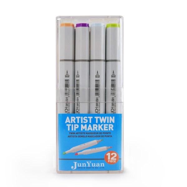 12pc Plastic Twin Tip Artist Marker