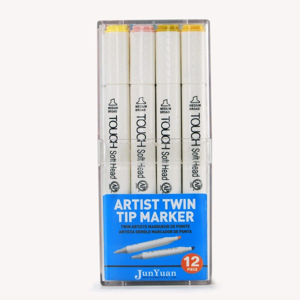 12pc Acrylic Case Twin Tip Marker Art Set