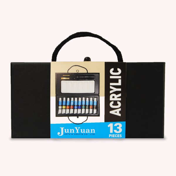 13pc Black Paper Box Acrylic Art Set