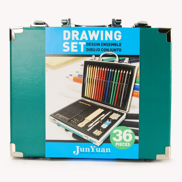 36pc Paper Box With Aluminum Trim Drawing Art Set