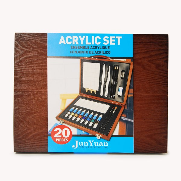 20pc Wooden Acrylic Paint Art Set