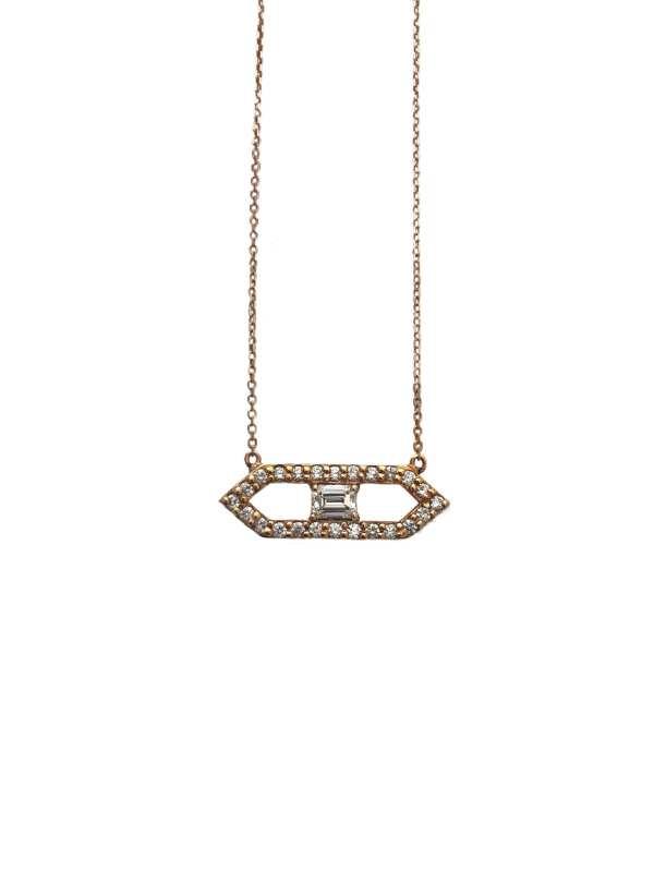 19562 -JJI- 18kt rose gold emerald cut dia .83ct & rbc d.92ctw pendant