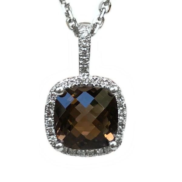 cushion smokey topaz 1.95ct & diamond halo .15ctw pendant