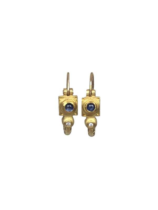 18755 18kt yellow gold cabachon sapphire & dia .01ctw earrings