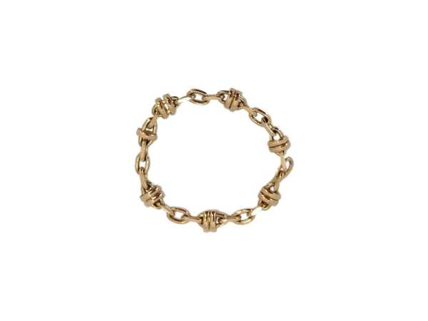 24715 14kt yellow gold fancy link chain ring size 7
