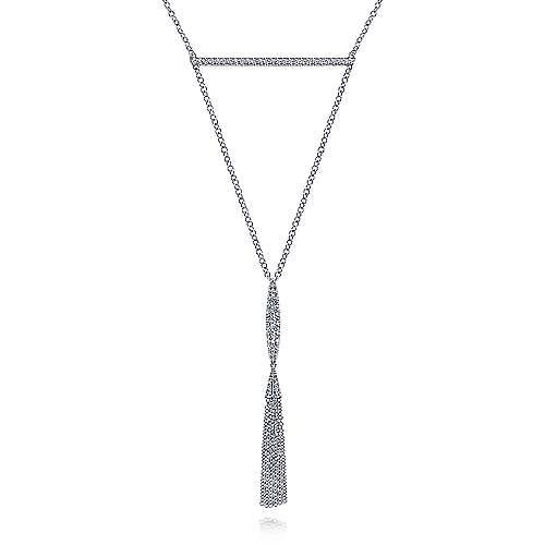 Diamond Bar and Y Tassel Necklace