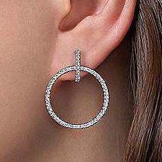 gold diamond double circle huggie earrings