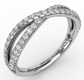 french pave crossover diamond band .37 carat total weight