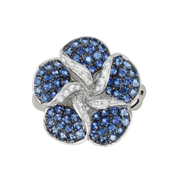 blue sapphire & diamond flower ring