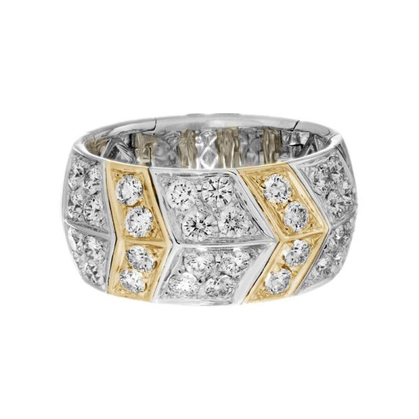 14kt two tone wide diamond flex band