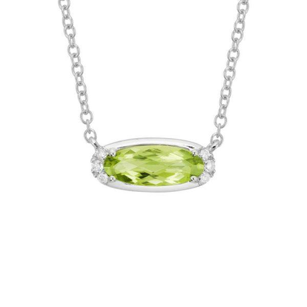 oval peridot & diamond necklace