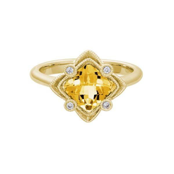 cushion shape citrine & diamond ring