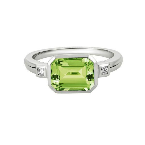 bezel set peridot & diamond ring