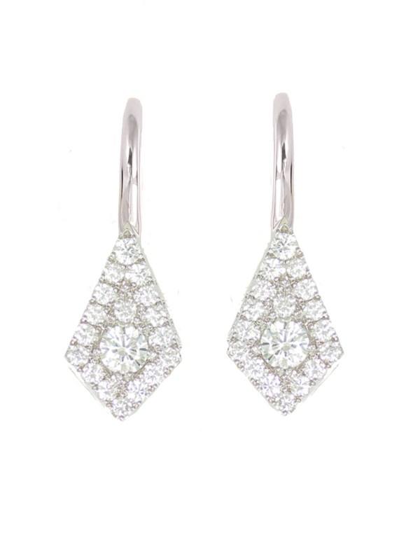 14kt kite shape diamond drop earrings