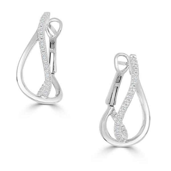 14kt diamond crossover earrings