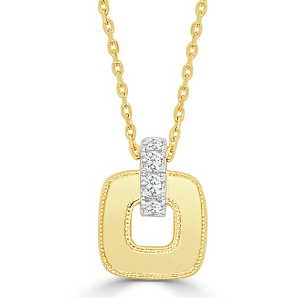 14kt cushion shape open Nebula necklace