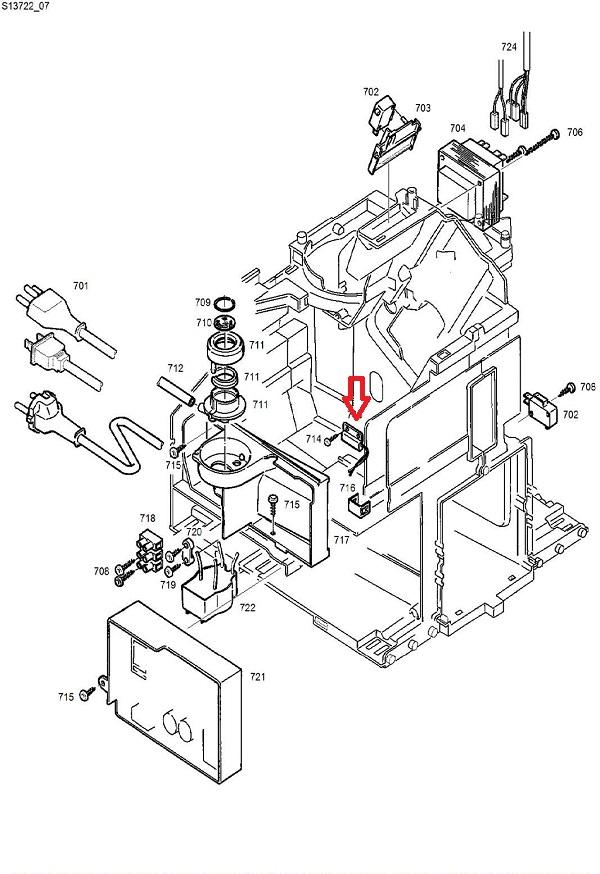Jura D6-E8-E9-F7-F8-F9 Water Tank Level Sensor