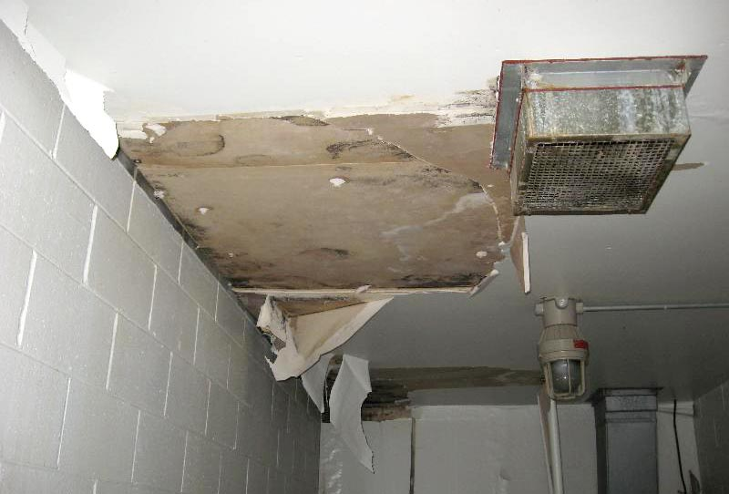 Interior damage from roof leaks