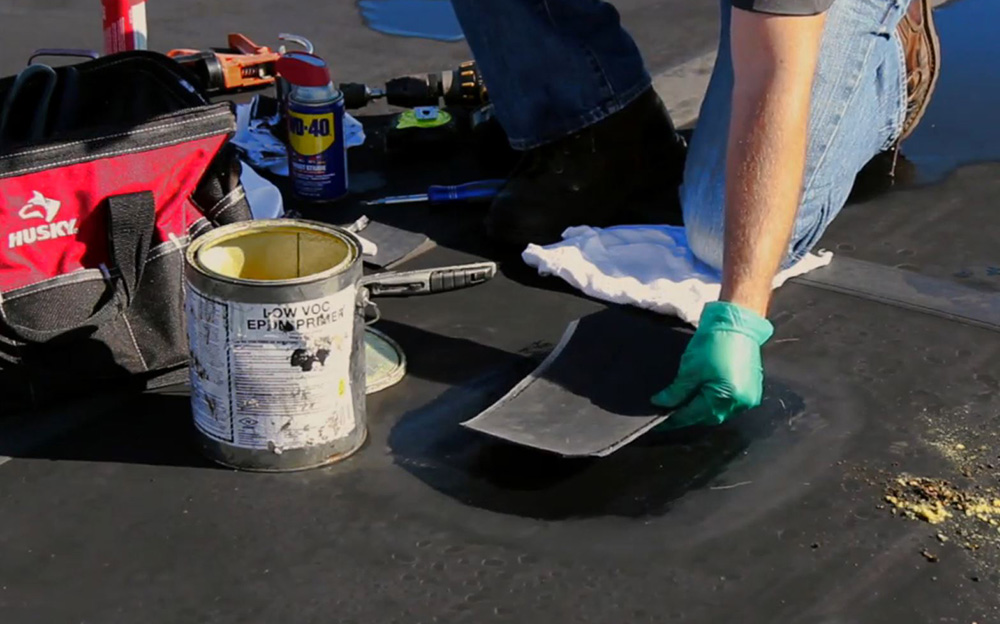 Rubber Roof patch installation